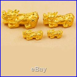 1PCS Pure 999 24K Yellow Gold 3D Good Coin PIXIU Bead Pendant /1.2g