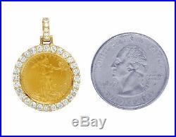1.00 CT Unisex Diamond Pendant OZ Liberty Coin 10K Yellow Gold Finish 1.1 Inch