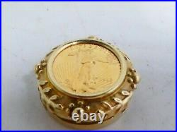 1/10 Ounce Walking Liberty Gold Coin Pendant With Fancy Bezel 6.4 Dwt