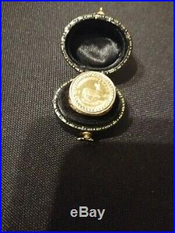 1/10 oz Krugerrand Fine Gold coin mounted Mens Hallmarked 9ct Gold Ring Size N