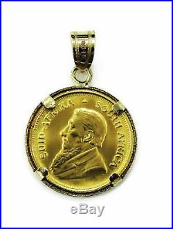 1/10 oz Krugerrand Gold Coin Necklace Charm Pendant