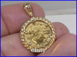 1/10th Ounce Walking Liberty Gold Coin Pendant With 14k Bezel