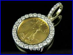 1.20 Ct Diamond Statue Of Liberty Lady Coin Charm Pendant 14K Yellow Gold Over