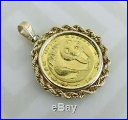 1/20 Oz Panda 1983 24k Gold bullion Coin w 14k bezel 2.2 grams total pendant