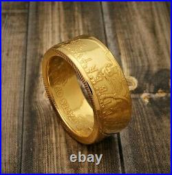 1/2 oz Gold Eagle Coin Ring 22K Polished Heads Size 5-12 Random Date