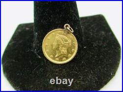 1.4 Gram Yellow Gold Gold Liberty Head $1 Coin Pendant