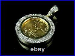 1.52 ct Round Sim Diamond Men's Coin Lady Liberty Pendant 14k Yellow Gold Plated