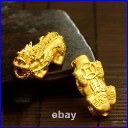 1pcs New Pure 24K Yellow Gold Pendant 3D Coin Link Lucky Pixiu 1979mm/ 1-1.5g
