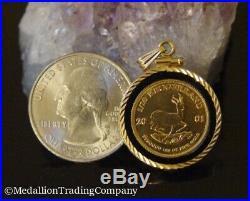 2001 1/10 oz Krugerrand. 9995 Coin 14k Yellow Gold Onyx Bezel Clip Bail Pendant