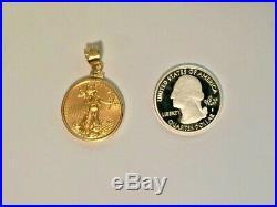 2016 1/4 oz American Eagle Gold Coin Necklace Charm Pendant Bezel