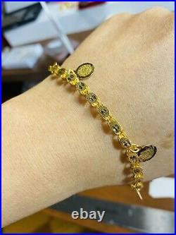 21K / 875 FINE Saudi Gold Fine WOMEN'S Coin Bracelet With 8 Long 10.02g 4mm Wide