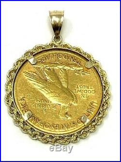 21k Yellow Gold 10 Dollars U. S. Coin 14k White Gold Rope Bezel Pendant 20.4grams
