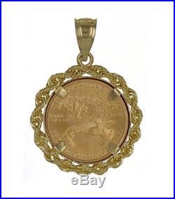 22K 2004 Liberty 5 Dollars 1/10 oz Fine U. S. Gold Coin in 14K Gold Rope Pendant