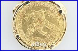 22K $5 Lady Liberty 1881 Coin in 14K Yellow Gold Vine Leaf Bezel Charm Pendant