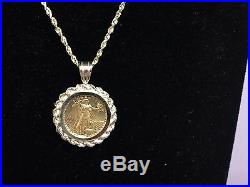 22K FINE GOLD 1/10 OZ LADY LIBERTY COIN set WITH -14K ROPE FRAME PENDANT