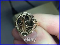 22K FINE GOLD 1/10 OZ US LIBERTY COIN in 14k Yellow Gold Ladies Ring