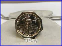 22K FINE GOLD 1/4 OZ LADY LIBERTY COIN in Heavy 14k gold Ring