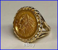 22K GENUINE INDIAN HEAD 2 1/2 DOLLAR US GOLD COIN 14 kt Gold RING