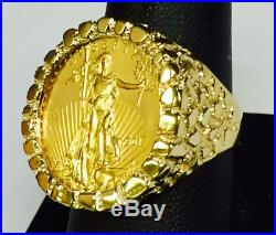 22K GOLD 1/4 OZ US AMERICAN EAGLE COIN in 14k SOLID YELLOW GOLD NUGGET Ring