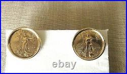 22K Gold 1995 American Coin Cufflinks Framed in 14K Gold 13g