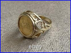 22K Gold 1/10 oz 1986 US Liberty Coin in 14K Solid Gold Ring Size 7