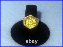 22K MEXICAN DOS PESOS COIN ON 14K SOLID YELLOW GOLD 7.3 gm RING Size 6-3/4