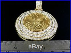 22K Yellow Gold Coin Lady Liberty 1/2 Ounce Genuine Diamond Pendant 5 Ct 2.25