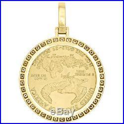 22K Yellow Gold Lady Liberty Half Ounce Coin Diamond Mounting Pendant 2.25 CT