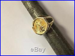 22 KT 1/10oz LADY LIBERTY COIN SET IN 14 KT SOLID YELLOW GOLD LADIES COIN RING