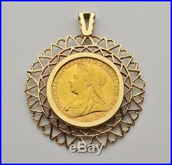 22ct 22carat 1899 Queen Victoria Sovereign Coin in 9ct Mount Pendant FREEPOST