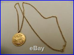 22ct GOLD FULL SOVEREIGN COIN 1918 GEORGE IV PENDANT & 18ct 18 CHAIN