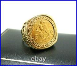 22ct Gold Half Sovereign 1982 Coin 9ct Gold Hallmarked Ring Mount Size Q