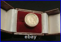 22ct Gold Half Sovereign Coin Ring Hallmarked 9ct Solid Gold Ring Size S
