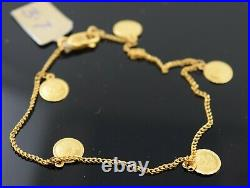 22k Bracelet Solid Gold Ladies Jewelry Classic Rose Coin Design b9919