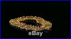 22k Bracelet Solid Gold Simple Charm Classic Floral Coin Floral Design B4057