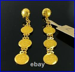 22k Earrings Solid Gold Ladies Classic Three Tier Coin Shape Design E6627