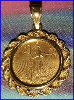 22k Fine Gold Vintage 1998 Lady Liberty Coin Pendant With14k Gold Rope Frame