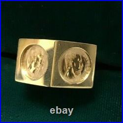 22k Gold 2 coin- 1865 Maximilano Emperador Coins Set In 14k ring sz 8.25 STUNNER