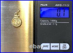 22k Gold miniature Liberty Coin, 14k gold Bezel, Pendant Charm, Vtg Fine Jewelry