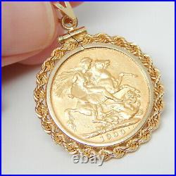 22k Solid Gold Victoria 1900 Coin English Antique Art Deco 14k Necklace Pendant