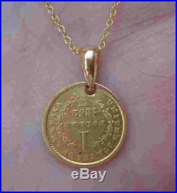 23K Liberty Gold Coin Diamond Bail 1852 $1 Pre-Civil War Pendant Necklace 14K YG