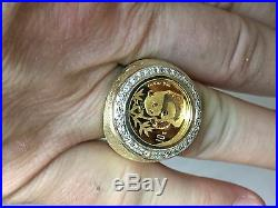 24K 1/10 oz CHINESE PANDA BEAR COIN IN 14K SOLID GOLD COIN 24MM RING with. 36TCW