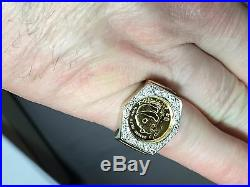 24K CHINESE PANDA BEAR COIN SET IN 14K SOLID GOLD COIN RING with. 50 TCW