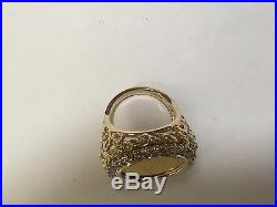 24K CHINESE PANDA BEAR COIN SET IN 14K SOLID GOLD COIN RING with. 93 TCW