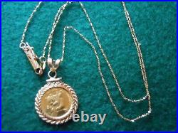 24K GOLD CHINESE 1/20 PANDA COIN, 14K GOLD PENDANT HOLDER, 18 in. 14K GOLD CHAIN