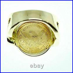 24K Gold 1878 $2.5 Dollar Liberty Head Coin Ring in 14K Gold Custom Made Ring