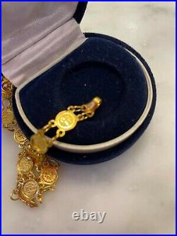 24K Gold Chinese Zodiac Coin Good Luck Chain 7 Bracelet Approx. 10 g New