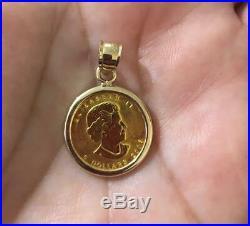 24K Gold Maple Leaf 1/10 oz Coin Canada Charm Pendant Necklace 14K Gold Bezel