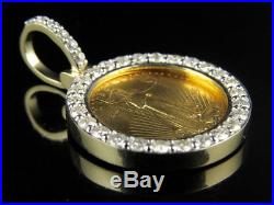 24K Solid Yellow Gold Coin Lady Liberty 1/10th Ounce Diamond Pendant 1.20ct