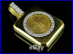 24K Solid Yellow Gold Coin Lady Liberty Half 1/4 Ounce Diamond Pendant 1.80 Ct